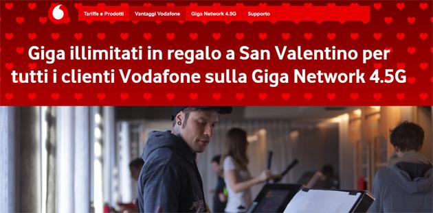Vodafone regala Internet a San Valentino 2019 con Giga Illimitati