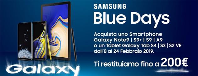 Samsung Blue Days 2019, fino a 200 euro di rimborso acquistando Galaxy S9, S9 Plus, Note9, A9, Tab S4, Tab S3, Tab S2