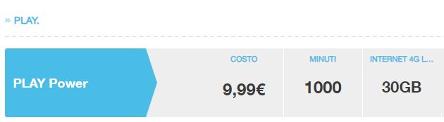 3 PLAY ora solo Power con 1000 minuti e 30 giga a 9,99 euro mensili