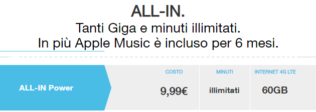 Foto 3 ALL-IN ora Power e Super Power da 11,99 euro con SMS e minuti illimitati e 60 Giga