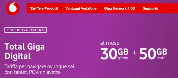 Vodafone Total Giga Digital: 30GB di giorno e 50GB di notte a 15 euro al mese