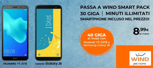 Passa a Wind Smart Pack: fino a 40 giga e minuti illimitati con nuovo smartphone incluso in 30 rate da 8,99 euro (fino al 24 marzo)