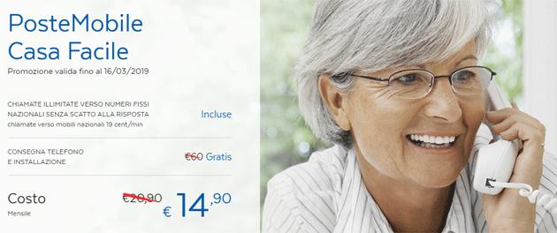 PosteMobile Casa Facile, telefonia fissa da 14,90 euro al mese in promozione