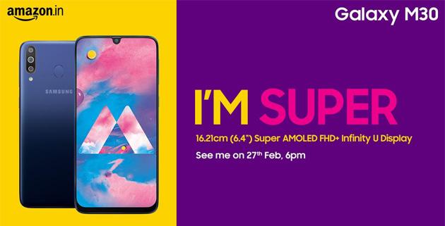 Samsung Galaxy M30 ufficiale display Super AMOLED Infinity-U