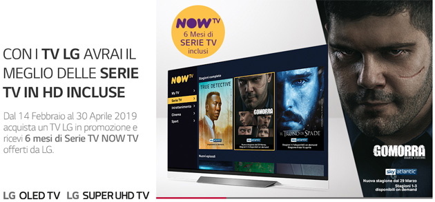 Foto LG regala 6 mesi di serie su NOW TV, la Internet TV di Sky