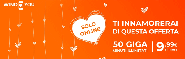 Foto Wind Smart Loves You, per San Valentino 50 Giga e minuti illimitati per 9,99 euro al mese