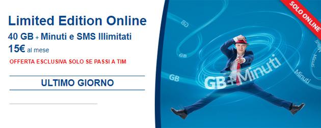 TIM Limited Edition Online, ultimo giorno per 40GB, Minuti e SMS Illimitati a 15 euro al mese