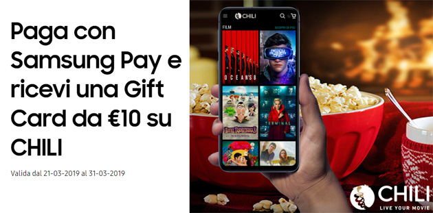 Samsung Pay regala buono CHILI per vedere film