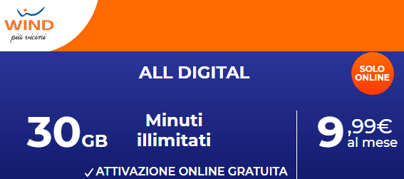 Foto Wind ALL Digital: 30 giga e minuti illimitati 9,99 euro al mese (offerta in scadenza)