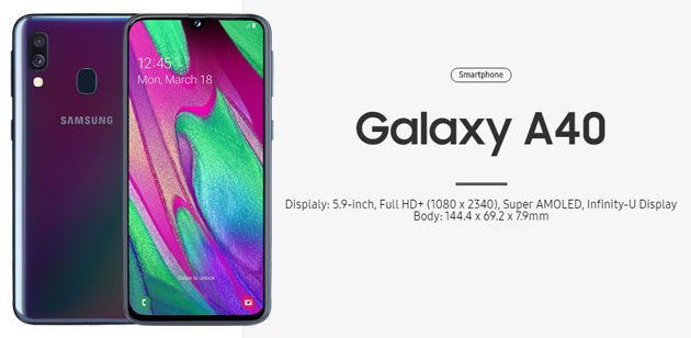 Samsung Galaxy A40 in Italia con display Infinity-U da 5.9 pollici, dual camera e batteria da 3100mAh