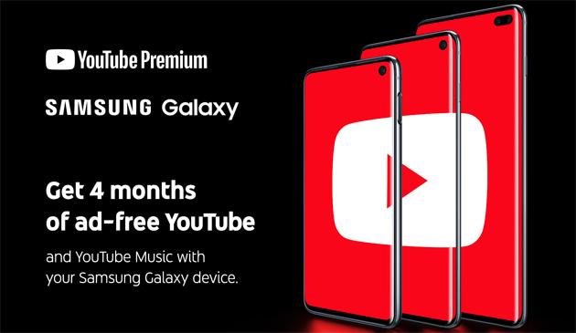 YouTube Premium Samsung Galaxy S10 gratis 4 mesi