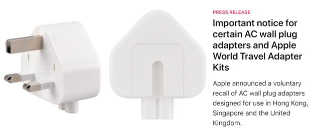 Apple richiama alcuni adattatori a tre poli difettosi