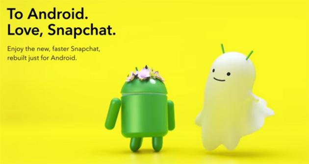 Snapchat, nuova app per Android piu' veloce e performante