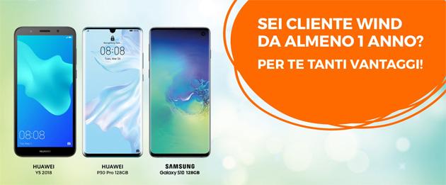 Wind, offerta Telefono Incluso per i clienti: Samsung Galaxy S10 e Huawei P30 in listino