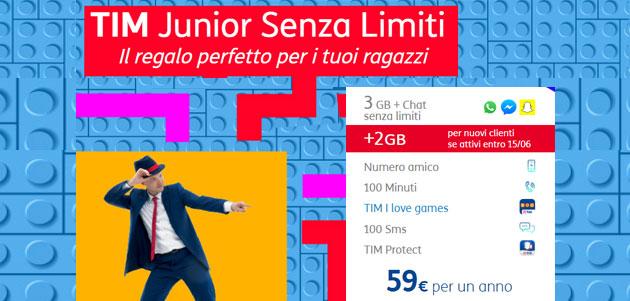 TIM Junior PACK Senza Limiti, ideale prima offerta per i giovanissimi (aggiornata con promo)