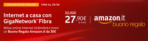 Foto Vodafone regala Buono Regalo Amazon.it di 30 euro attivando una offerta Internet Unlimited entro il 29 aprile