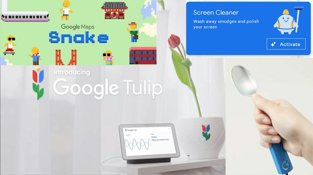 Google, i Pesci di Aprile 2019: Snake su Maps, Tulip, Screen Cleaner in Files, il cucchiaio intelligente