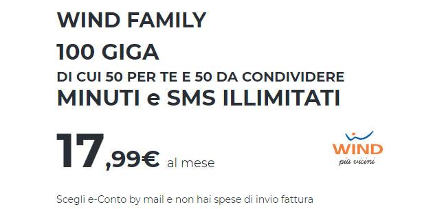 Wind Family, fino a 100 Giga di internet di cui 50 da condividere (fino al 16 giugno)