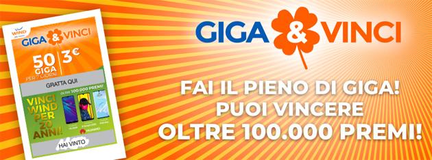 Wind Giga e Vinci: Internet, Smartphone e 20 anni di Wind tra i premi in palio oltre a 50 Giga per 7 giorni sicuri