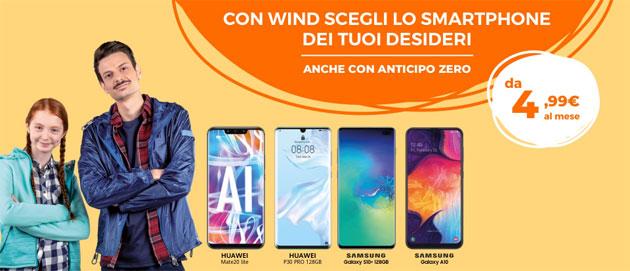 Wind, smartphone top di gamma da 4,99 euro al mese fino al 16 giugno
