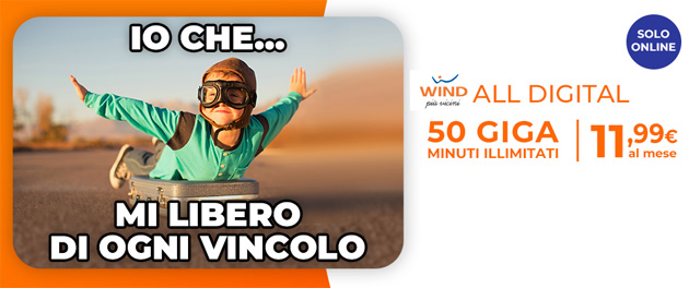 Foto Wind ALL Digital: 50 giga e minuti illimitati 11,99 euro al mese