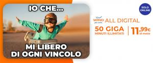 Wind ALL Digital: 50 giga e minuti illimitati 11,99 euro al mese