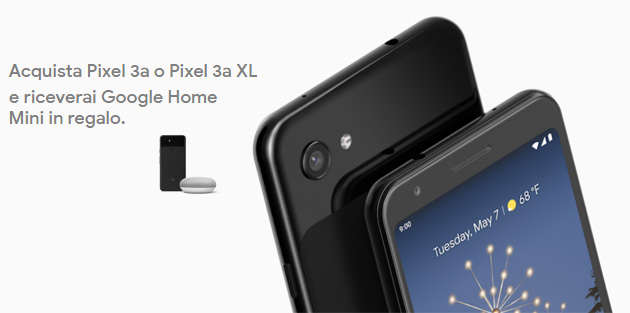 Google con Pixel 3a e 3a XL regala un altoparlante Home Mini