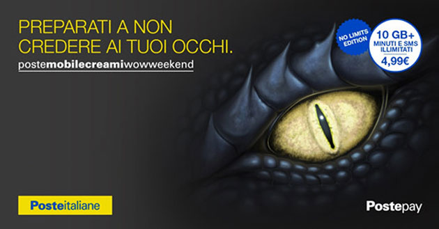 Foto PosteMobile Creami WOW Weekend No Limits Edition: 10GB, minuti e SMS senza limiti a 4,99 euro