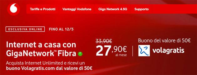 Vodafone regala buono VolaGratis da 50 euro con le offerte Internet Unlimited