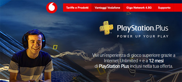 Vodafone Internet Unlimited regala PlayStation Plus per 12 mesi