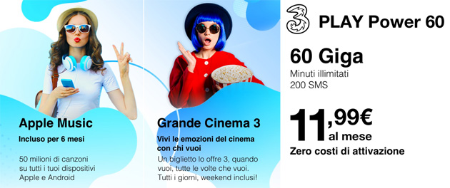 3 Play Power 60: minuti illimitati, 60 giga e 200 SMS a 11,99 euro al mese