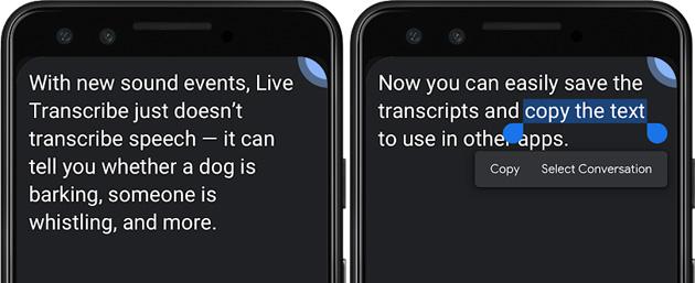 Trascrizione istantanea su Android mostra Eventi Sonori e fa salvare le trascrizioni