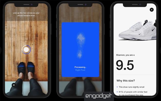 AR nella app Nike per misurare i piedi e mostrare le scarpe indossate