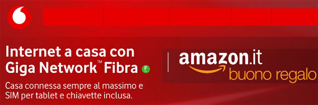 Foto Vodafone regala Buono Regalo Amazon.it di 50 euro attivando una offerta Internet Unlimited entro il 24 giugno