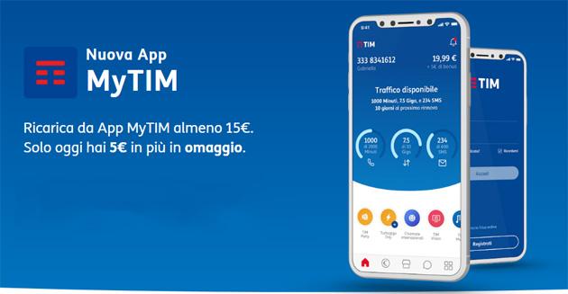 TIM regala bonus Ricarica su App MyTIM oggi 19 Luglio
