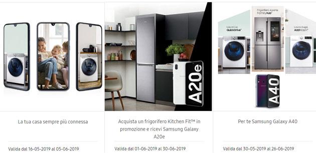 Samsung Galaxy A40 e A20e in regalo con alcuni elettrodomestici: come aderire alla promozione