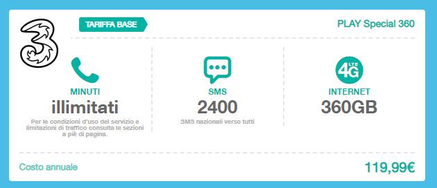 3 PLAY Special 360: minuti, SMS e Giga inclusi con pagamento annuale