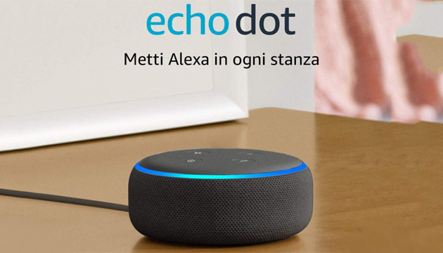 Foto Amazon Echo Dot in offerta a 19,99 euro per Prime Day 2019
