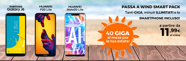 Foto Passa a Wind Smart Pack: fino a 40 giga e minuti illimitati con nuovo smartphone incluso in 30 rate da 11,99 euro