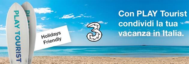 3 Play Tourist offre Minuti, SMS e Giga in Italia inclusi per un mese, ideale per una vacanza
