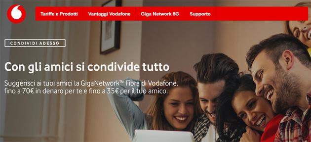 Vodafone ricompensa chi promuove le sue offerte di rete fissa, se il destinatario attiva un nuovo contratto