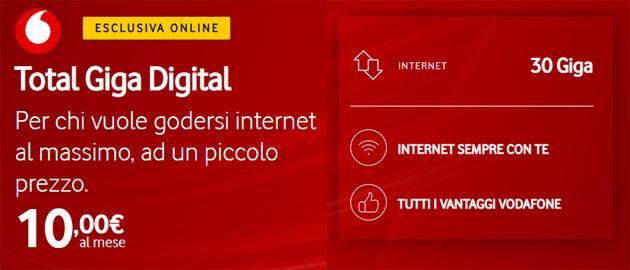 Vodafone Total Giga Digital: 30GB di giorno e 50GB di notte a 10 euro al mese, per modem Wi-Fi e chiavette