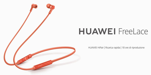 Foto Huawei FreeLace, cuffie wireless con associazione intelligente ora in Italia