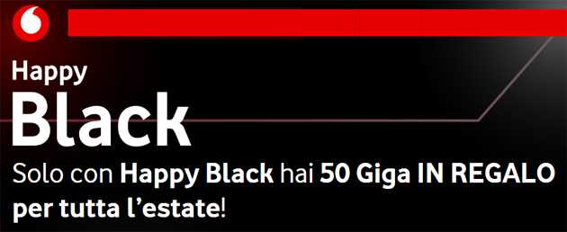 Vodafone Happy Black Summer: 50 giga da usare questa Estate