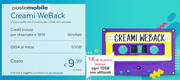 PosteMobile Creami WeBack, offerta che Ricarica per i Giga non utilizzati