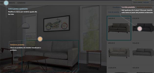 Amazon Showroom, salotto virtuale per vedere prima di acquistare prodotti di arredamento