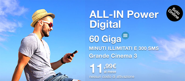 3 All-In Power Digital Estate 2019: 60 Giga, Minuti illimitati e 300 SMS a 11,99 euro al mese