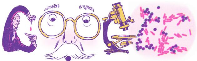 Google doodle per Hans Christian Gram, microbiologo dietro una importante tecnica di classificazione dei batteri