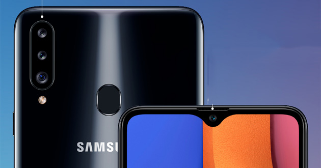 Samsung Galaxy A20, A20e, A20s con display Infinity-V: le differenze