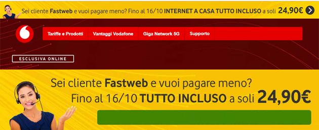 Vodafone invita i clienti Fastweb su rete fissa a passare a Vodafone per 'pagare meno'
